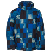 Quiksilver Mission Printed Mens Insulated Snowboard Jacket, Dark Denim, medium