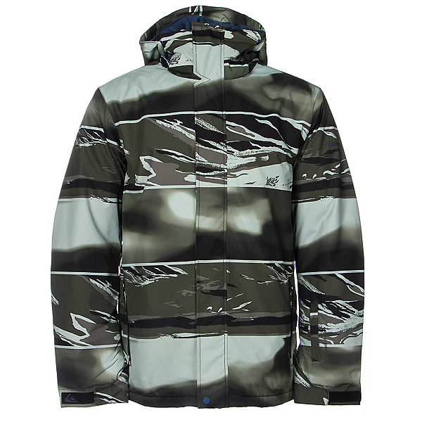 Quiksilver Mission Printed Mens Insulated Snowboard Jacket, Alaskan Camo Military Remix, 600