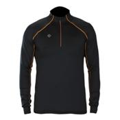 Descente Hans T-Neck Mens Mid Layer, Black-Spark Orange, medium