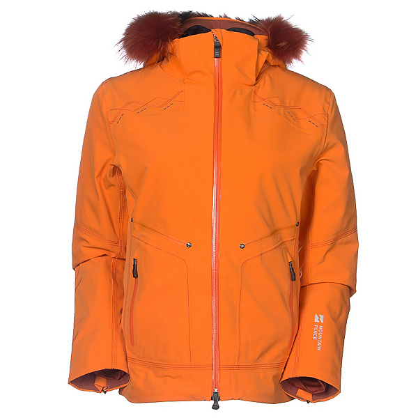 Mountain Force Rider w/Fur Womens Insulated Ski Jacket, Orange-Picante, 600