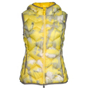 Mountain Force Hooded Down Womens Vest, Yellow Multi Color Print-Smoke, medium