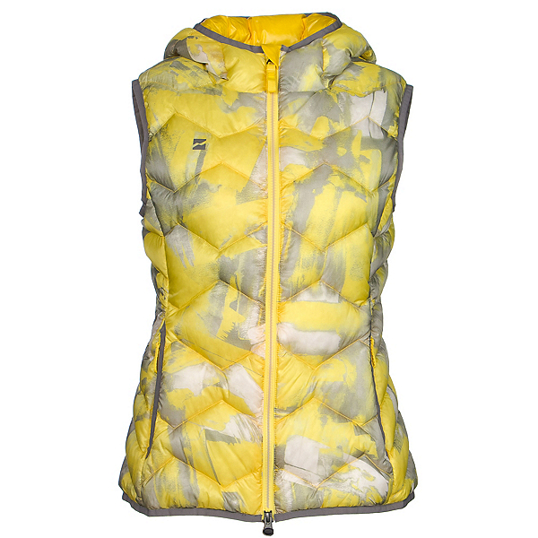 Mountain Force Hooded Down Womens Vest, Yellow Multi Color Print-Smoke, 600