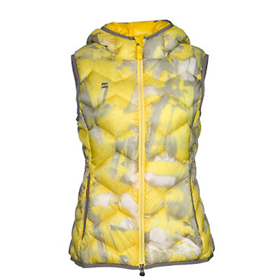 Mountain Force Hooded Down Womens Vest, Yellow Multi Color Print-Smoke, viewer