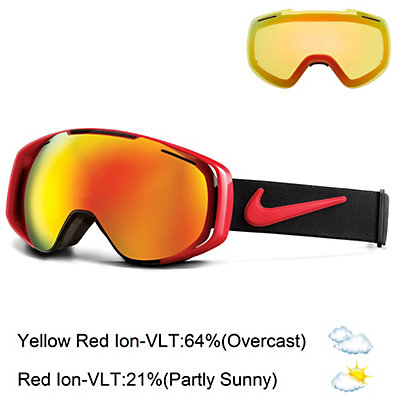 Nike Khyber Goggles, University Red Vlack-Red Ion + Bonus Lens, viewer