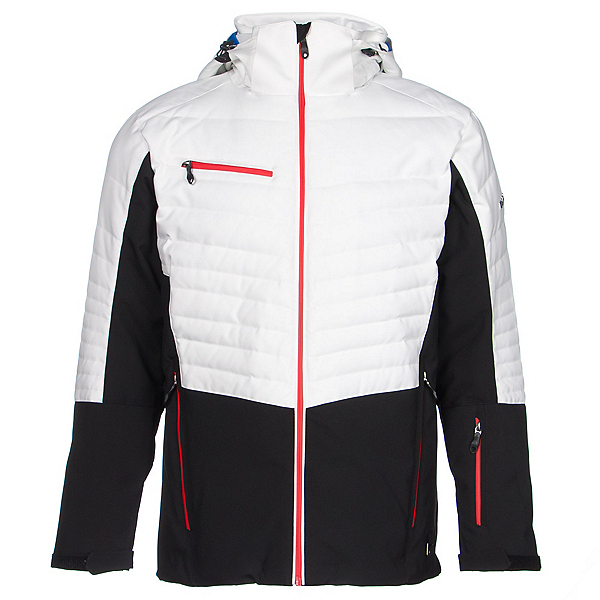 Karbon Thor Mens Insulated Ski Jacket, Black-Arctic White-Red, 600