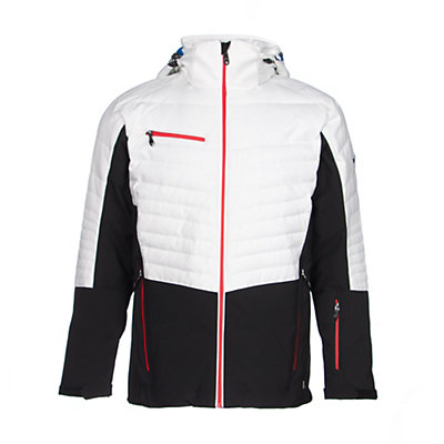 Karbon Thor Mens Insulated Ski Jacket, Black-Arctic White-Red, viewer