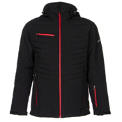 Karbon Thor Mens Insulated Ski Jacket, Black-Black-Red, medium