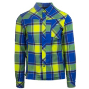 KJUS FRX Flannel Shirt, Alaska Blue-Wasabi, medium