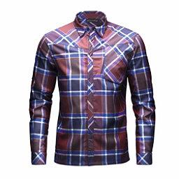 KJUS FRX Mens Flannel Shirt, Rum-Atlanta Blue, 256