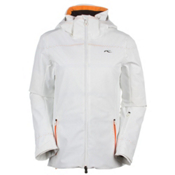 KJUS Light Speed Womens Insulated Ski Jacket, White-Orange Pepper, medium