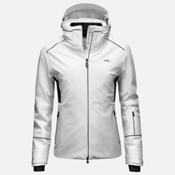 KJUS Formula Womens Insulated Ski Jacket, White-Black, medium