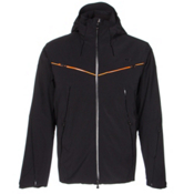 KJUS Blade Mens Insulated Ski Jacket, Black-Orange Pepper, medium