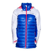 Columbia Heatzone 1000 TurboDown Womens Insulated Ski Jacket, White-Blue Macaw, medium