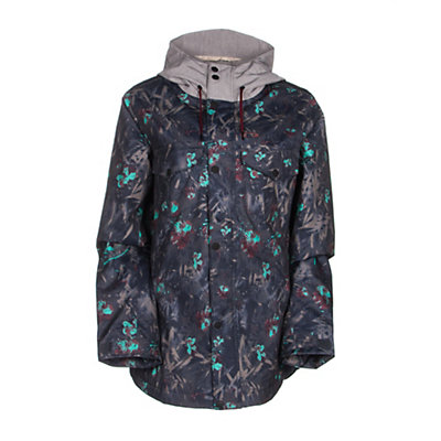 Oakley Charlie 2 BioZone Womens Insulated Snowboard Jacket, Navy Floral, viewer
