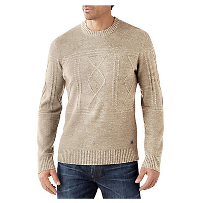 SmartWool Cheyenne Creek Cable Mens Sweater, Natural Heather, viewer