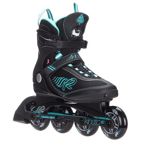 K2 Kinetic 80 Womens Inline Skates 2017, Black-Turquoise, 600