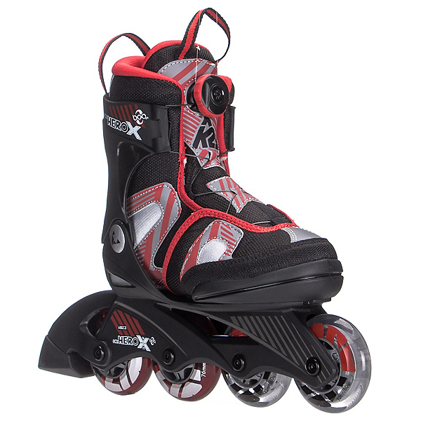 K2 Sk8 Hero X Boa Kids Inline Skates, Black-Red, 600