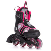 K2 Charm X Boa Adjustable Girls Inline Skates, Black-Fuscia, medium