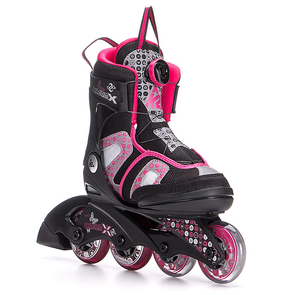 K2 Charm X Boa Adjustable Girls Inline Skates, Black-Fuscia, 600