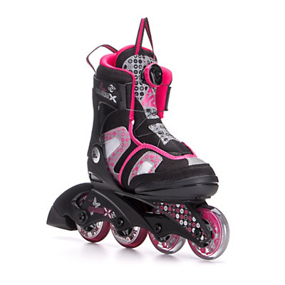 K2 Charm X Boa Adjustable Girls Inline Skates, Black-Fuscia, viewer