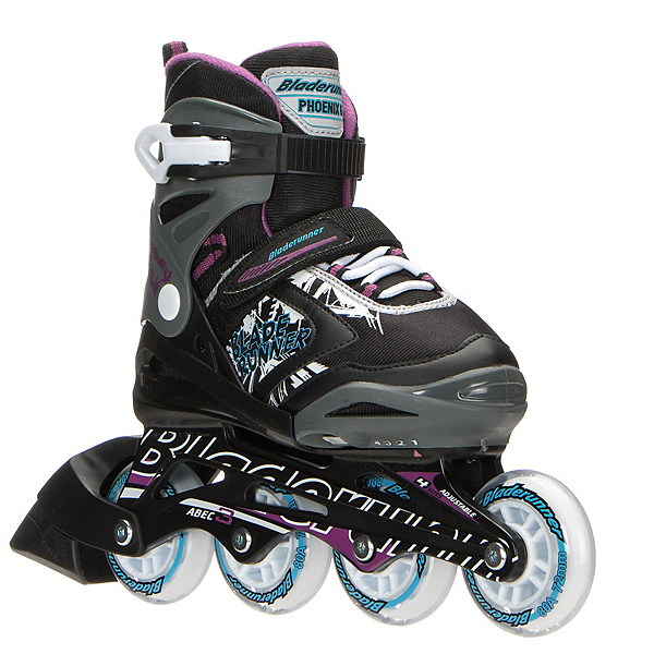Bladerunner Phoenix Adjustable Girls Inline Skates 2017, Black-Purple, 600