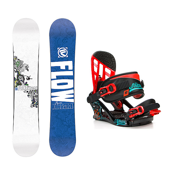 Flow Micron Wigglestick Vandal Kids Snowboard and Binding Package, , 600