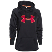 Under Armour Rival Womens Hoodie, Black-Fury-Cyber Orange, medium
