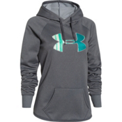 Under Armour Rival Womens Hoodie, Carbon Heather-String Beam-Bou, medium