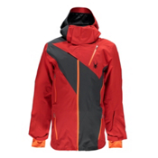 Spyder Highlands Mens Insulated Ski Jacket, Red-Polar-Bryte Orange, medium