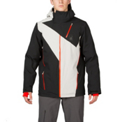 Spyder Highlands Mens Insulated Ski Jacket, Black-Cirrus-Volcano, medium