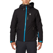 Spyder Pryme Mens Insulated Ski Jacket, Black-Electric Blue, medium