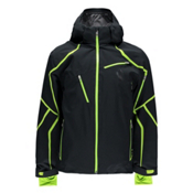 Spyder Esper Mens Insulated Ski Jacket, Black-Theory Green, medium