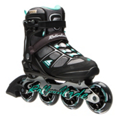 Rollerblade Macroblade 80 ALU Womens Inline Skates 2016, Black-Light Green, medium
