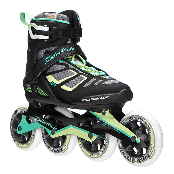 Rollerblade Macroblade 100 Womens Inline Skates 2017, Black-Light Green, 600