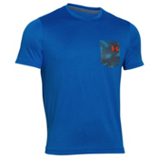 Under Armour Flow Tee Mens T-Shirt, Ultra Blue-Rocket Red, medium