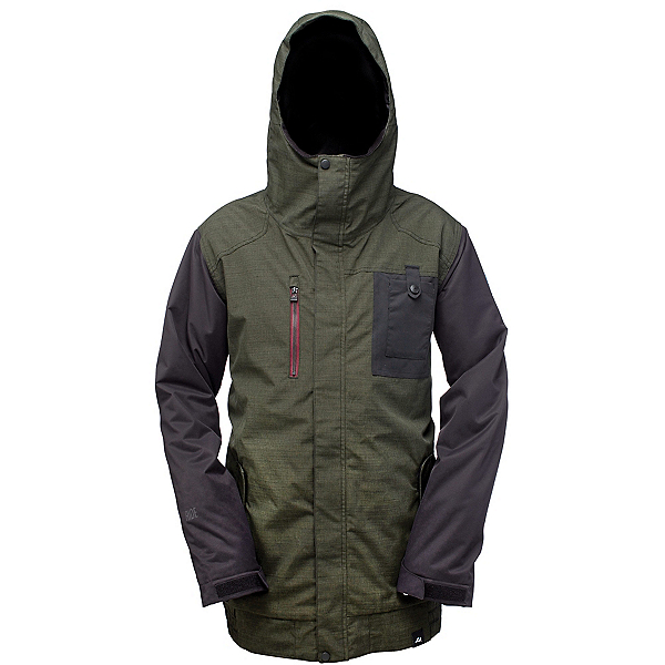 Ride Laurelhurst Mens Insulated Snowboard Jacket, Black Olive Slub, 600