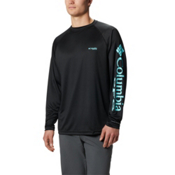 Columbia PFG Terminal Tackle Long Sleeve Mens Shirt, Black-Gulf Stream, medium