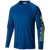 Columbia PFG Terminal Tackle Long Sleeve Mens Shirt, Marine Blue-Napa Green, medium