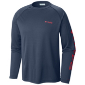 Columbia PFG Terminal Tackle Long Sleeve Mens Shirt, Dark Mountain-Sunset Red, medium