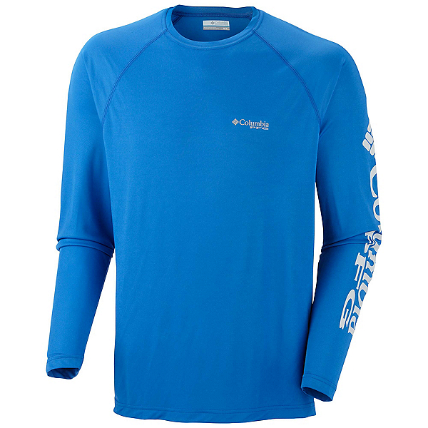 Columbia PFG Terminal Tackle Long Sleeve Mens Shirt, Vivid Blue-Cool Grey, 600