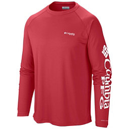 Columbia PFG Terminal Tackle Long Sleeve Mens Shirt, Sunset Red-White, 256