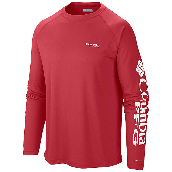 Columbia PFG Terminal Tackle Long Sleeve Mens Shirt, Sunset Red-White, 600