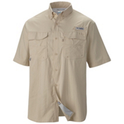 Columbia PFG Blood And Guts III Short Sleeve Mens Shirt, Fossil, medium