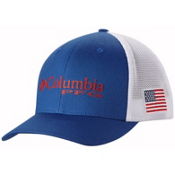 Columbia PFG Mesh Hat, Mountain Blue-Usa Flag, medium