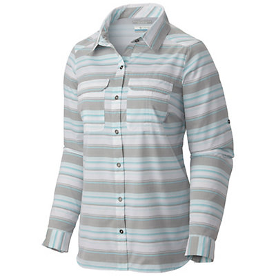Columbia Pilsner Peak Stripe Long Sleeve Womens Shirt, Cypress Stripe, viewer