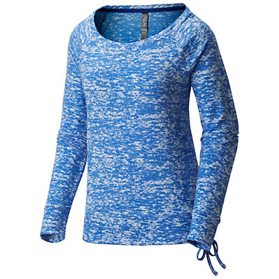 Mountain Hardwear Burned Out L/S Pullover Womens Shirt, Heather Bright Island Blue, viewer