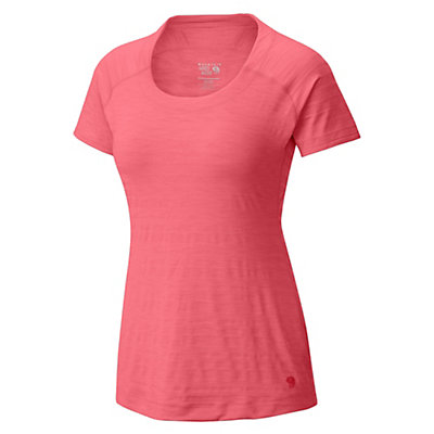 Mountain Hardwear Mighty Stripe Short Sleeve Womens T-Shirt, Paradise Pink, viewer