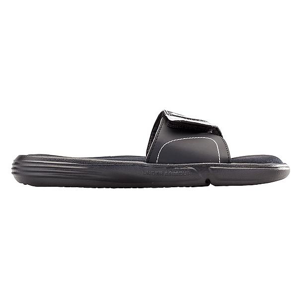 Under Armour Ignite VII Slide Womens Flip Flops, Black-Metallic Silver, 600