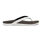 OluKai Hoopio Womens Flip Flops, White-Black, medium