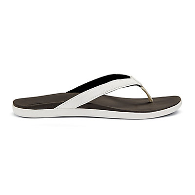 OluKai Hoopio Womens Flip Flops, White-Black, viewer
